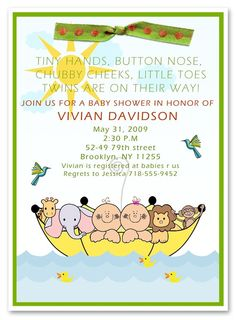 Noah's Ark Baby Twins Shower Invitation