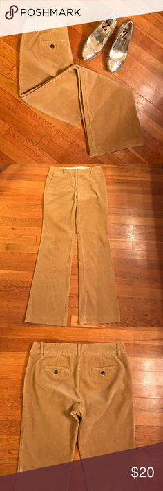 J. Crew City Fit Tan Cords Excellent pair of J. Crew Cords, really good sturdy quality. Very good used condition. 100% cotton cords corduroy. Minor wear to the bottoms. Inseam 32.75 inch. J. Crew Pants