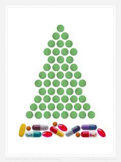 Christmas Tree Pharma Christmas Card - JP Science Marketing #pharma #biotech #christmas #science #lifescience #marketing #card #holiday #pharmaceutical #biotechnology #design