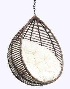 Furniture: Excellent Rattan Hanging Egg Chair With White Fabric Tufted Seat As Inspiring Outdoor Gardening Furniture Decors. Bunnings Hanging Egg Chair, Hanging Chair For Bedroom, Hanging Egg Chairs, Rattan Swinging Egg Chair, Hanging Chairs For Rooms | Ranzom.com
