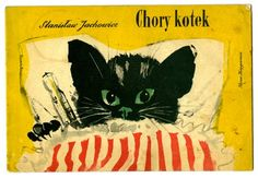 Janusz Grabiański - illustration of 'chory kotek'/'sick kitty', a children's book by Janusz Jachowicz Black Cat Art, Black Cats, Cat Stands, Sleepy Cat, Vintage Cat, Children's Book Illustration, Cute Cats, Instagram, Poland