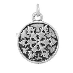 Antique Silver Tone Alloy Snowflake Engraved On The Plate Diy Charm Jewelry Making Accessories