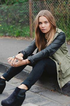 Black Leather and Khaki Jacket | Black Jeans | Black Wedges
