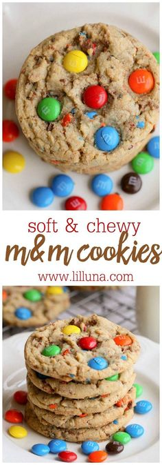 Cookie Soft and Chewy M&M Cookies - this treat recipes is always a hit and easy to make! { }Soft and Chewy M&M Cookies - this treat recipes is always a hit and easy to make! M M Cookies, Cake Mix Cookies, Cookies Et Biscuits, Yummy Cookies, Cookies Soft, Sugar Cookies, Baking Cookies, Drop Cookies, Cupcakes