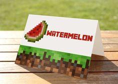 Free Printable Minecraft Food Labels | DIY Printable Minecraft Birthday Party Tent Food by kriendesigns, $4 ...