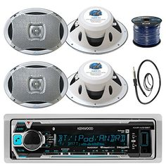 Kenwood KMRM318BT InDash Marine Boat Audio Bluetooth USB Receiver Bundle Combo With 4x 500 Watts 6X9Inch 2Way Marine Silver Coaxial Speakers  Radio Antenna  16g 50FT Marine Speaker Wire >>> More info could be found at the image url.