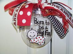 Handpainted Born to be a Hog Ornament by Doodlefriends on Etsy, $15.00