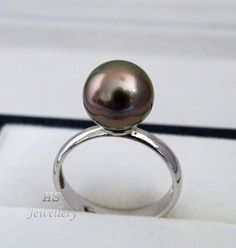 HS #Tahitian South Sea Cultured #Pearl 10.25mm #Ring 925 Sterling Silver Top #Jewelry #Mothers #Anniversary #Bridal