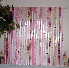 ribbon curtain - Conservatory instead of curtains with glass beads to catch the light Beaded Curtains, Diy Curtains, Closet Curtains, Attic Closet, Room Closet, Ribbon Curtain, Ideias Diy, Diy Ribbon, Colorful Curtains