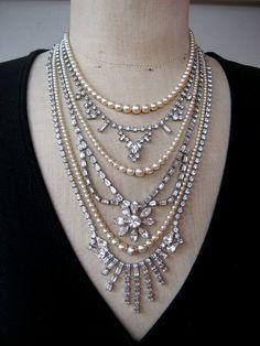 Vintage Pearl Rhinestone Wedding Necklace Assemblage - Princess Grace