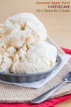 Caramel Apple Cheesecake No-Churn Ice Cream recipe. This is an easy dessert recipe perfect for when you still want something cold and creamy, but are craving fall flavors.  A perfect gluten free treat for that the whole family will enjoy!