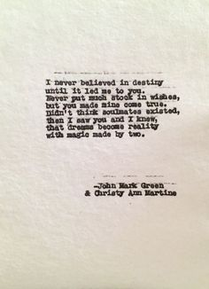 Destiny - Soulmates - Hand Typed Anniversary Poems for sale on Etsy - John Mark Green & Christy Ann Martine - Love Poem