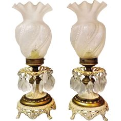 Victorian Style Teardrop Crystal Prism Brass Piano  Lamps