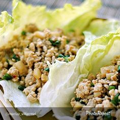"""By @mariza_villarreal """"Asian Lettuce Cups Yield: 6 servings  INGREDIENTS  1 1/4 lb. fat-free lean ground turkey 1 Tbsp olive oil 1 clove garlic, minced 1/8 tsp. ground ginger 2/3 cup thinly sliced green onions (about 4) 1 (8 oz) can sliced water chestnuts, drained and coarsely chopped 12 Boston lettuce leaves 3 Tbsp hoisin sauce 2 Tbsp lower-sodium soy sauce (green top) 1 Tbs.."""