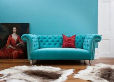 Turquoise Velvet Chesterfield Sofa by Bespoke Sofa London