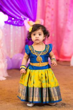 Best 12 Stunning pink pattu kids lehenga and blue color parikini with bird and cage design hand embroidery thread work on yoke. Age : 1 to : 4500 INR 18 February 2019 – SkillOfKing. Kids Party Wear Dresses, Kids Dress Wear, Kids Gown, Dresses Kids Girl, Baby Dresses, Baby Outfits, Kids Outfits, Girls Frock Design, Kids Frocks Design