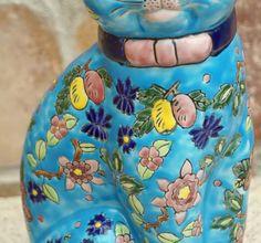 Sitzende Katze, Keramik, florale Bemalung - Jugendstil um 1900 (# 2679)   eBay