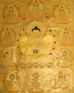24k Gold Tibetan Buddhist Thangka of Buddha Shakyamuni