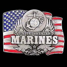 Siskiyou Sports specializes in superior quality custom made metal art work, metal art sculpting and white metal casting.This finely sculpted and enameled pewter belt buckle contains exceptional detailing. Siskiyou's unique buckle d Marine Flag, My Marine, Marine Corps Officer, Respect The Flag, Marine Gifts, Music Gifts, Metal Artwork, Porsche Logo, Marines