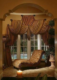 Curtains, blinds, valances and other window treatments are a big part of what makes an apartment a home. - Check Out THE PIC for Lots of Ideas for Creative Window Treatments. Modern Curtains, Drapes Curtains, Valances, Elegant Curtains, Tuscan Curtains, Bamboo Curtains, Luxury Curtains, Style Toscan, Decoration Hall