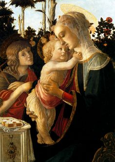 Мадонна с младенцем и юным Иоанном Крест. в розовом саду (1470-1475) (93 x 69). Sandro Botticelli (1445-1510)