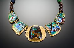 "MARIANNE HUNTER - Childhood's Best Companions - Grisaille w/foil Enamels Yawah Opal   METALS: 24K • 14K • Platinum-Silver, Fabricated & Engraved   BEADS: Boulder Opal, Kyanite, Chrysoprase, Antique Glass  Size:  1 3/4""h x 7""w x 1/8""d"