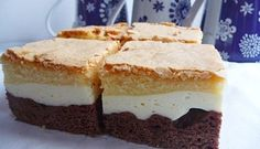 Recept na koláč den a noc - snadný na přípravu, krásný na dezertním talířku. Kontrast tvoří tři vrstvy: kakaová, tvarohová a zlatavá z piškotového těsta. Sweet Bar, Pie Cake, Sweet Cakes, Dessert Recipes, Desserts, Tiramisu, Cheesecake, Food And Drink, Cooking