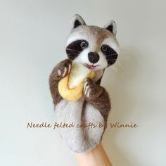 Raccoon and bread wool hand puppet handmade needle felt OOAK by FunFeltByWinnie on Etsy