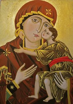 A painted copy of Our Lady of Damascus  (egg tempera on wood, 14cm x 20cm). The original icon is venerated at the Greek Catholic Church in Valletta, Malta.