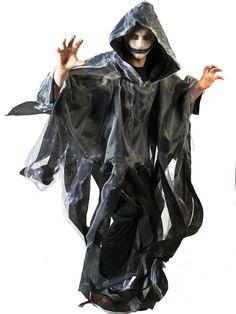 Cape blanche et noire adulte Halloween : Cette cape pour adulte est en intissé noir, avec un voile blanc par dessus. Elle possède une capuche et est découpée en lambeaux sur le bas. Elle est plus longue à...