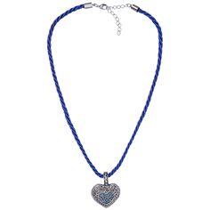 Blaue Kordelkette mit Herzanhänger von Schlick