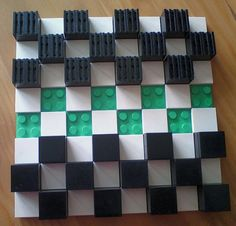 Jeu de dames Junior en Lego/ Checkers made out of Lego. Repin from Site enfant-aveugle.