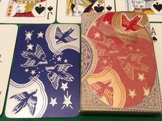 Twin Pack VINTAGE 1940s DE LA RUE ** SWALLOW BIRDS ** PLAYING CARDS Free UK Post
