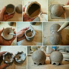 Making raku pottery jellyfish salt and pepper shakers