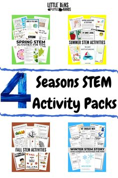 Whether spring, summer, winter, or fall there's a STEM activity pack for kids for that! This 4 Seasons STEM Activity Pack for kids will engage your children with hours of seasonal fun. Included in this pack are life cycles, rocks, fizzy lemonade slime, and so much more. Kids from ages K2 to 3rd grade will enjoy exploring how our world changes during the seasons. Great for home, distance, and classroom learning! Fall Preschool Activities, Nature Activities, Spring Activities, Holiday Activities, Science Activities, Science Experiments, Summer Science, Stem Science, Earth Science