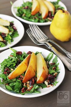 Roasted Pear & Arugula Salad - I made this salad for our vegan friends as well, it was the best fall salad ever! The roasted pears were phenomenal.