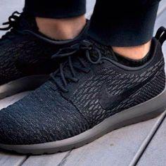 new concept 0ff6c 6da22 NIKE FLYKNIT ROSHE RUN BLACK MIDNIGHT FOG ATMOS 677243 001  180 Nike Shoes  For Sale,