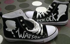 60a1b20d335f38 sherlock watson black converse shoes Custom Sneakers