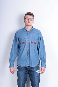Peak Performance Mens L Jeans Shirt Cotton Blue Denim Western Country