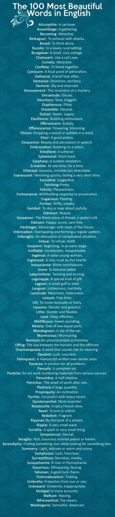 100 Most Beautiful Words in the English Language