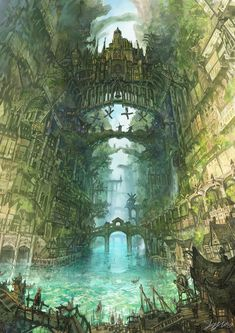 Canyon s Port Town by Yoshinori Somei Fantasy art landscapes Fantasy city Fantasy art