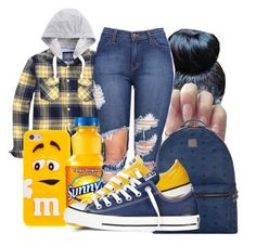 """""""Untitled #1424"""" by honey-cocaine1972 ❤ liked on Polyvore featuring MCM and Converse"""