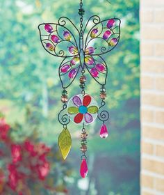 Elegant Jeweled Wind Chimes Butterfly