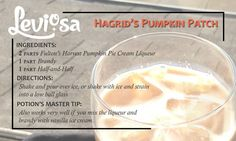 Hagrid's Pumpkin Patch: a creamy, dreamy pumpkin pie cocktail for the fall Drinks Alcohol Recipes, Non Alcoholic Drinks, Cocktail Drinks, Fun Drinks, Beverages, Harry Potter Cocktails, Harry Potter Potions, Harry Potter Food, Food C