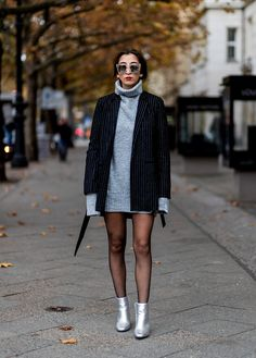 With a Grey Jumper Dress, a Striped Coat, and Silver Ankle Boots Striped Blazer Outfit, Striped Jacket, Blazer Outfits, Fall Outfits, Grunge Outfits, Grey Jumper Dress, Grey Sweater Outfit, Black Sweater Dress, Black Sweaters