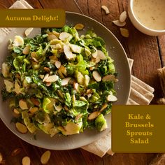 Kale and Brussels Sprouts Salad – an Autumn Delight! Sprouts Salad, Brussel Sprout Salad, Brussels Sprouts, Keto Creamed Spinach, Kale, Mustard, Salads, Good Food, Healthy Eating