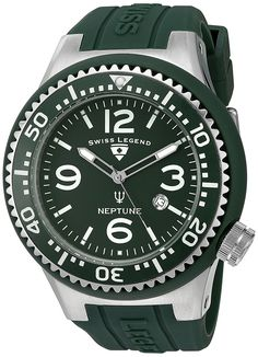 Swiss Legend Men's 21818S-F-NYJ Neptune Dark Green Dial Dark Green Silicone Watch *** Visit the image link more details.