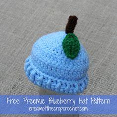 Cream Of The Crop Crochet ~ Preemie Blueberry Hat {Free Crochet Pattern}