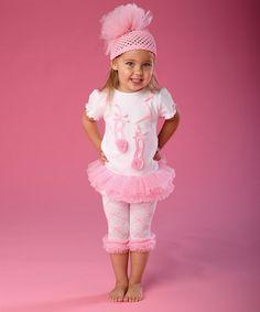 Look at this #zulilyfind! Pink & White Ballet Shoe Tulle Top & Leggings - Infant & Kids #zulilyfinds