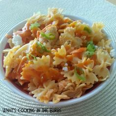 Creamy Buffalo Chicken Pasta Salad--this will be awesome with some gluten free pasta!